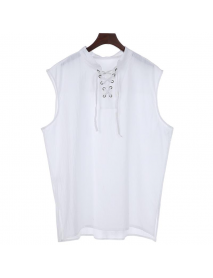 Fashion Solid Color Sleeveless Stand Collar Strap Open Men's Vest Sports Breathable Comfort Tops