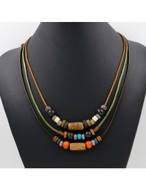 Bohemian Multilayer Necklace Wax Rope Alloy Wood Beaded Sweater Necklace Ethnic Jewelry for Women