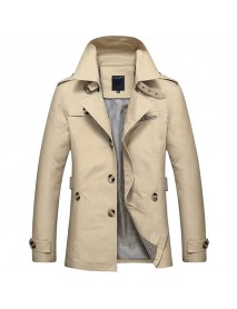 Mens Casual Single-breasted Trench Coat Turn-down Collar Slim Fit Cotton Overcoat