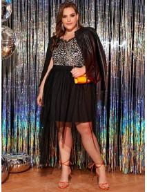 Plus Size Fashion High Waist Irregular Hem Black Mesh Skirts