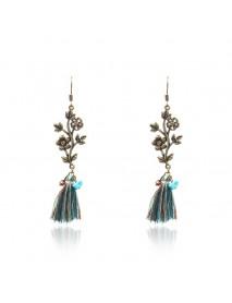 Bohemian Leavers Tassels Drop Earring Retro Antique Gold Long Pendant Earring for Women