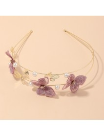 Cloth Handmade Embroidery Romantic Purple Butterfly Headband Hair Accessories