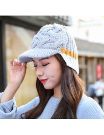Casual Winter Earmuffs Warm Knit Baseball Cap Outdoor Patchwork Peaked Cap