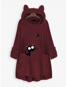 Cartoon Cat Embroidery Irregular Hem Hooded Fleece Sweatshirt Casual Coats with Pockets
