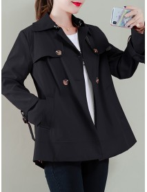 Button Solid Color Long Sleeve Lapel Casual Jacket Coats