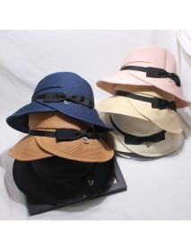 Bow Knot Straw Hat Lady Day Sun Hat Collapsible Basin Cap Beach Vacation Beach Hat Female
