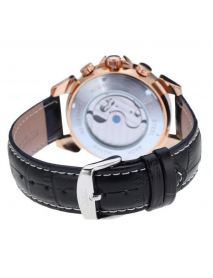 JARAGAR F120504 Fashion Automatic Mechanical Watch Date Display Leather Strap Men Wrist Watch