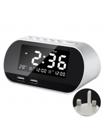Dual Home FM 2 Puertos USB Phone Charger Raido Multifunctional Alarm Clock All-In-One Design With Wireless Speaker Office brightness adjustable LCD Display Permanent Calendar