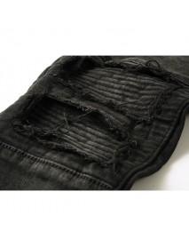 Black Biker Fold Holes Zipper Slim Ripped Jeans for Men