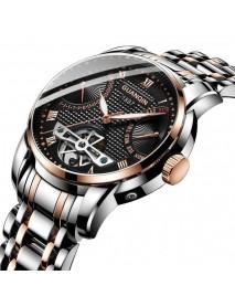 GUANQIN GH17002 Calendar Automatic Mechanical Watch Full Steel Men Wrist Watch