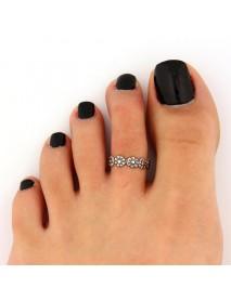 Vintage Antique Silver Toe Ring Adjustable Flower Open Knuckle Finger Ring for Women