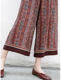 Bohemian Women Patchwork Elastic Waist Wide Leg Pants