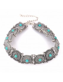 Vintage Carved Flower Turquoise Choker Necklace