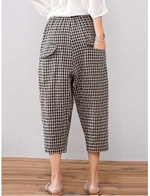 Casual Elastic Waist Plaid Pants with Pocket