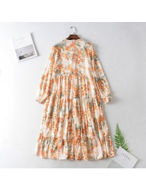 89ys6-359 European And American Women's Season New Garden Wind Long Sleeve Flower Print Dress