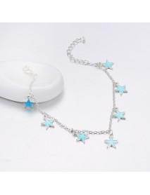 Trendy Luminous Blue Star Anklet Foot Chain Barefoot Sandal Beach Jewelry Bracelet Gift for Women