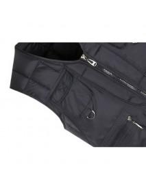Mens Casual Loose Fit V Neck Multi Pockets Solid Color Autumn Winter Vest
