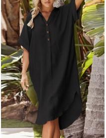 3/4 Sleeve Lapel Button Short Sleeve Irregular Hem Solid Color Shirt Dress
