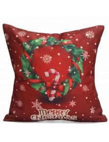 43X43cm Christmas Tree Snowmen Gift Fashion Cotton Linen Pillow Case Santa Claus Home Decor