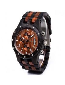 BEWELL ZS-W109D Calendar Casual Style Unisex Watch Wood Strap Quartz Watches