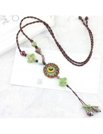 Ethnic Women Necklace Ceramic Drop Pendant Lucky Flower Adjustable Sweater Necklace Gift for Her