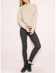 Casual Solid Color Elastic High Waist Leggings Slim Knit Pants