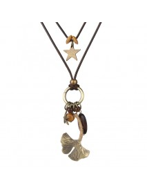 Women's Vintage 2 Layers Wax Rope Stars Sweater Chain Alloy Leaf Long Pendant Necklace