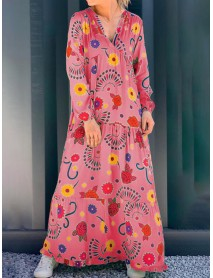 Bohemian Floral Print V-neck Long Sleeve Maxi Dress
