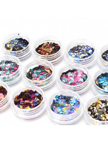 12 Color Mixed Color Nail Glitter Sequins