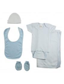 Boys 5 Piece Blue Layette Set