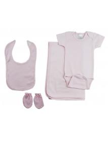 Girls 4 Piece Pink Layette Set