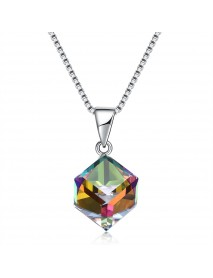 925 Sterling Silver Colorful Shining Cube Crystal Necklace Silver Charm Necklace for Women