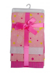 Bambini Pink Four Pack Receiving Blanket