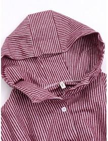 Asymmetrical Stripe Hooded Long Sleeve Coats
