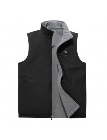 Mens Double-sided Wearable Fleece Lined Stand Collar Solid Color Vest