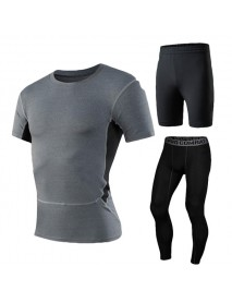Men's Fitness Three-piece Gym Sportswear Casual Quick-drying Tights Running Sports Suit