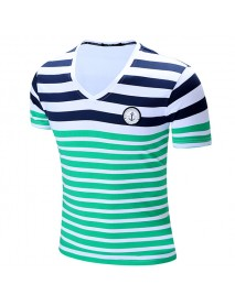 100% Cotton Striped Printing Short Sleeve V-Neck T-Shirts for Men