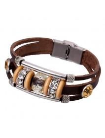 Retro Genuine Leather Wristband Bangle Punk Rhinestone Bead Bracelet for Women