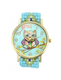 Custom Folk Style Cartoon Owl Pattern Alloy Case Cute Casual Women Quartz Wrist Watch