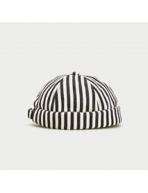 2019 Autumn Stripe Beret  Street Trends Melon Cap Vintage Innocent Metal Standard Sailor Brimless Hats