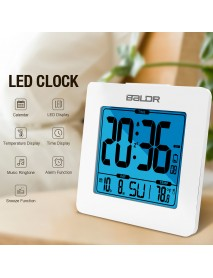 Baldr Digital Alarm Clock Thermometer LCD Backlight Calendar Indoor Temperature Meter Watch Desk Snooze Timer Kids Table Clock