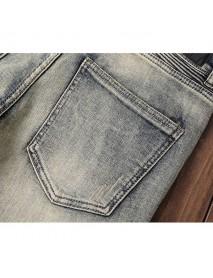 Light Vintage Biker Fashion Elastic Stone Washed Slim Ripped Jeans for Men