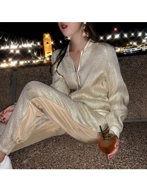 A328 New Fashion Sports And Leisure Suit Loose Ocean Net Red Short Coat Casual Pants Two-piece