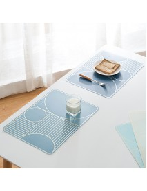 Home Waterproof Grease Proof Simple Geometry Pattern Heat Resistant Insulating Placemat