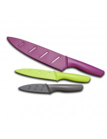 MYVIT K6MK-NS458IN 3pcs Stainless Steel Knife Set Chef Non-Stick Color-Coded Knife Set