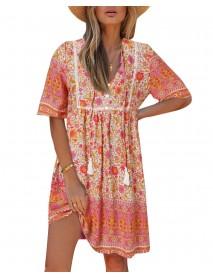 Bohemian Floral Print V-neck Short Sleeve Mini Dress