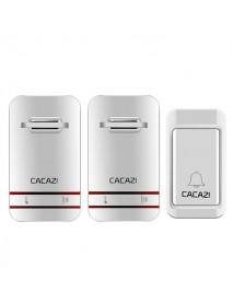 CACAZI 2 to 1 Wireless Doorbell No Need Battery LED Light Doorbell Waterproof Electronic Door Bell