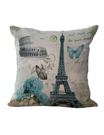 Paris Eiffel Tower Printed Pillow Case Linen Sofa Soft Cushion Cover
