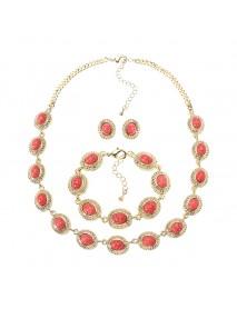 JASSY Bohemian Women Jewelry Set Turquoise Bead Bracelet Necklace Earrings