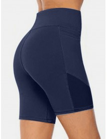 Plus Size Women Dry Quickly Solid Color Biker Sport Shorts With Pocket